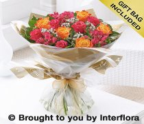 Large Summer Sunset Rose and Alstroemeria Hand-tied Code: H62272MS