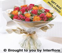 Extra Large Summer Sunset Rose and Alstroemeria Hand-tied Code: H62273MS