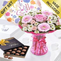Cotton Candy Get Well Vase With Chocolate Truffles and Helium Get Well Balloon Code: JGFG00291PS | Local Delivery Or Collect From Shop Only