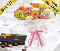 Celebration Autumn Hand-tied with a Box of Luxury Chocolates Code: JGFA90053CC | Local Delivery Or Collect From Shop Only