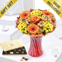 Aurelia Sunset Vase with a Box of Luxury Chocolates Code JGFA396345ACC | Local Delivery Or Collect From Shop Only