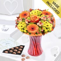 Aurelia Sunset Vase with a Box of Luxury Chocolate Truffles Code JGFA396345ACT| Local Delivery Or Collect From Shop Only