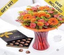 Autumn Burst Vase with a box of Milk Chocolate Truffles Code: JGFA30214AVCT | Local Delivery Or Collect From Shop Only