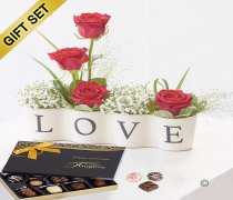 Precious Love Ceramic with a Box of Luxury Chocolates Code: C13331RS-C