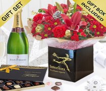 Christmas Cracker Hand-tied with a delicious bottle of bubbly Champagne and a Box Of Luxury Chocolates Code: JGFX80051RSTCH