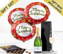 Merry Christmas Balloon and Champagne Gift Set with a box of Luxury Chocolate Truffles Code: JGFX636543CT | Local Delivery Or Collect From Shop Only
