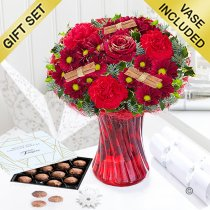Christmas Wish Vase With Luxury Belgian Milk Chocolate Truffles Code: JGFX90044CWT | Local Delivery Or Collect From Shop Only