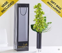 Elegant Green Cymbidium Orchid Vase Code: JGF00251GRS   | Local Delivery Only