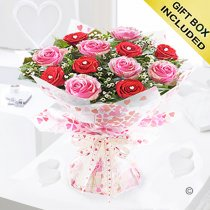 Sweet Loves Desire 6 Red and 6 Pink Rose Hand-tied Code JGFV96458RPW | Local Delivery Or Collect From Shop Only