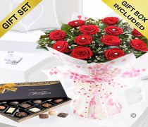 True Loves Desire 12 Red Rose Hand-tied With A Box Of Luxury Chocolates Code JGFV964RRWC | Local Delivery Or Collect From Shop Only