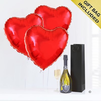 Hearts With Prossecco Code: JGFV74PRHP | Local Delivery Or Collect From Shop Only