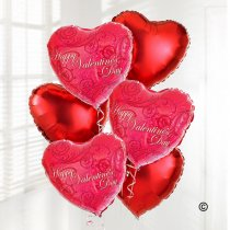Happy Valentines Day Red Heart Helium Balloon Bouquet Code: JGFB5012PVRHB | Local Delivery Or Collect From Shop Only