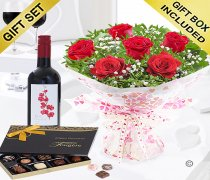 Six Hugs and Kisses With A Merlot Red Wine and Luxury Belgian Chocolates Code: JGFV76201RWC | Local Delivery Or Collect From Shop Only