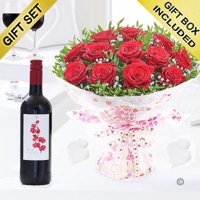 Twelve Hug's and Kisses with a Medium Bodied Merlot Red Wine Code: JGFV12201RW | Local Delivery Or Collect From Shop Only