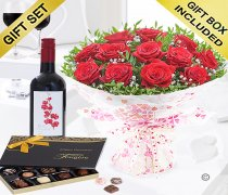 Twelve Hug's and Kisses With A Merlot Red Wine and Luxury Belgian Chocolates Code: JGFV421242RRWC | Local Delivery Or Collect From Shop Only