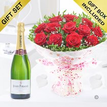 Twelve hugs and kisses with a delicious bottle champagne Code: JGF424012RJC | Local Delivery Or Collect From Shop Only