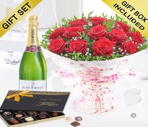 Twelve Hug's and Kisses with Champagne and Luxury Belgian Chocolates Code: JGFV421242RCHC | Local Delivery Or Collect From Shop Only