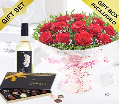 Twelve Hug's and Kisses With A Sauvignon Blanc Wine and Luxury Belgian Chocolates Code: JGFV421242RWWC | Local Delivery Or Collect From Shop Only