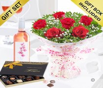 Six Hugs and Kisses With A Zinfandel Rosé Wine and Luxury Belgian Chocolates Code: JGFV76201RZWC | Local Delivery Or Collect From Shop Only