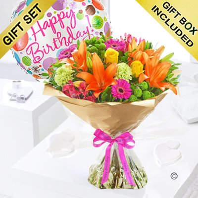 Happy Birthday Vibrant Hand-Tied With A Happy Birthday Balloon Code: JGFH20381VHB-HBB | Local Delivery Or Collect From Shop Only