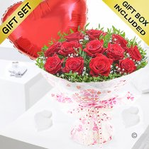 Twelve Hug's and Kisses with a Red Plain Heart Balloon Code: JGFV421242RRHB | Local Delivery Or Collect From Shop Only