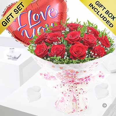 Twelve Hug's and Kisses With A Red I Love You Heart Balloon Code: JGFV421242RRILYB | Local Delivery Or Collect From Shop Only