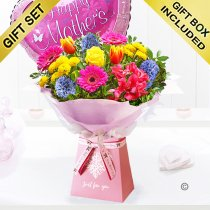 Mother's day just for you gift box with a happy mother's day balloon Code: JGFMD3241GBB | Local delivery or collect from shop only