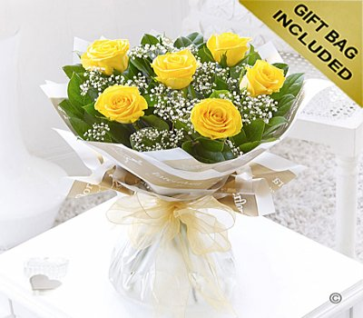 Six Stolen Kisses Yellow Rose Hand-tied with White Gypsophila Code: C00271YS | Local Delivery Or Collect From Shop Only
