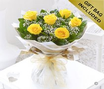 Six Stolen Kisses Yellow Rose Hand-tied with White Gypsophila Code: C00271YS