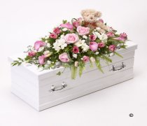 Children's Pink & White Casket Spray with Teddy Bear Code: F13781PS