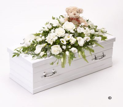 Children's White Casket Spray with Teddy Bear Code: F13781WS