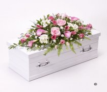 Children's Pink & White Casket Spray Code: F13111PS