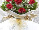Six Stolen Kisses Red Rose Hand-tied with White Gypsophila Code: JGFC00271RS  | Local Delivery Or Collect From Shop Only