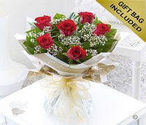 Six Stolen Kisses Red Rose Hand-tied with White Gypsophila Code: C00271RS