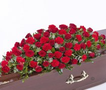 Red Rose and Red Carnation Casket Spray Code: F13590RS | National and Local Delivery