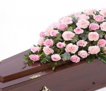 Pink Rose and Pink Carnation Casket Spray Code: F13590PS | National and Local Delivery