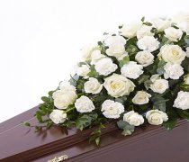 White Rose and White Carnation Casket Spray Code: F13590WS | National and Local Delivery