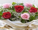 Six Stolen Kisses Red and Pink Mixed Hand-tied with White Gypsophila Code: C00271XS