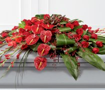 Rose, Orchid and Anthurium Casket Spray Code: F13871RS | National and Local Delivery