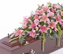 Pink Lily and Pink Rose Casket Spray Code: F13520PS | National and Local Delivery
