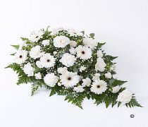 White Carnation and White Germini Teardrop Spray Code: F13020WS