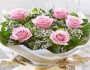 Six Stolen Kisses Pink Rose Hand-tied with White Gypsophila Code: C00271PS