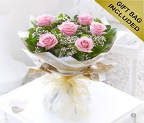 Six Stolen Kisses Pink Rose Hand-tied with White Gypsophila Code: C00271PS | Local Delivery Or Collect From Shop Only