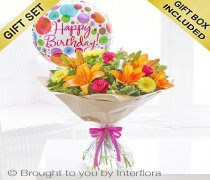 Happy Birthday Summer Sunshine Hand-tied with a Happy Birthday Balloon Code: H64201VB | National and Local Delivery