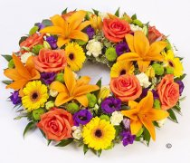 Vibrant Rose and Lily Wreath Code: F13050VS