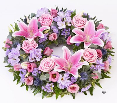 Pink & Lilac Rose and Lily Wreath Code: F13050MS