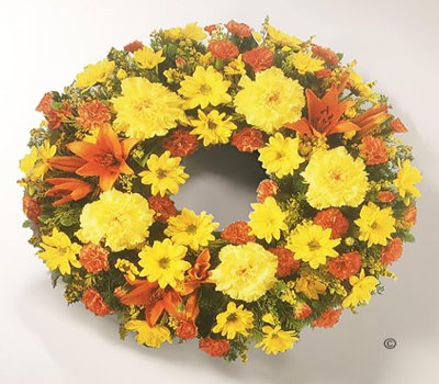 Orange and Yellow Mixed Classic Wreath Code: JGFF860YOW | Local Delivery Or Collect From Shop Only