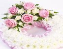 Traditional Pink and White Bassed Wreath Code: F13680PS