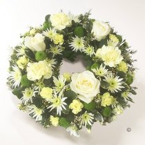 Cream and Green Open Wreath Code: JGFF430CGW  | Local Delivery Or Collect From Shop Only