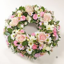 Pink and White Classic Wreath Code: JGFF370PWW | Local Delivery Or Collect From Shop Only